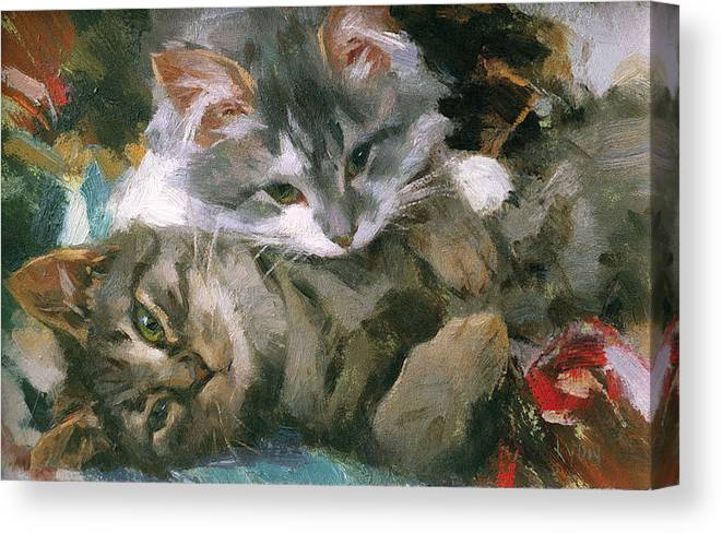 Kittens Canvas Print featuring the painting Haley And Willow by Susan Lyon