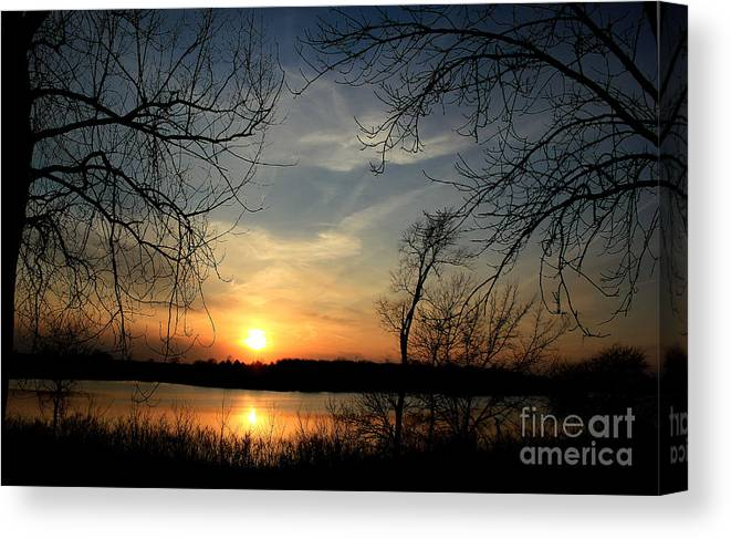 Sunset On The Water Canvas Print featuring the photograph Lake Sunset by Thomas Danilovich