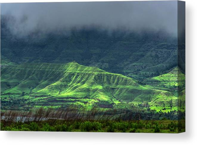 Asia Canvas Print featuring the photograph Monsoon Over Mountains by K Jayaram/science Photo Library