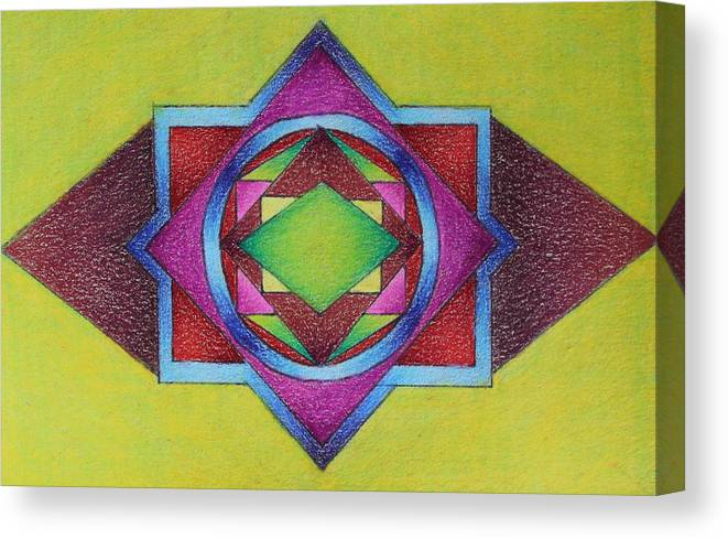 Colored Pencil Canvas Print featuring the drawing Number 11 by Karen Tagstrom
