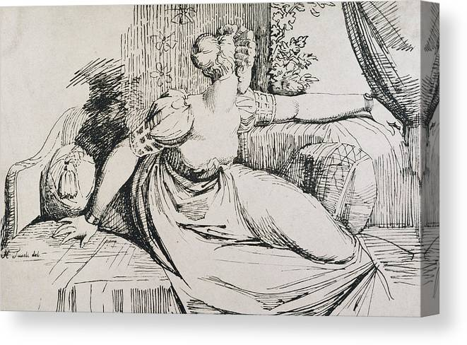 Fuseli Canvas Print featuring the drawing O Evening Thou Bringest All by Henry Fuseli