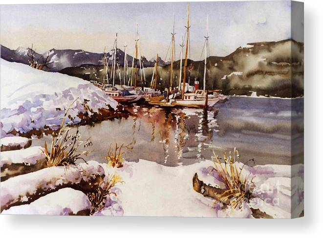 Landscape Canvas Print featuring the painting Special Winter In Vancouver by Marta Styk