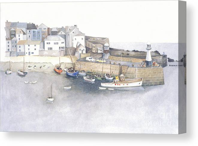 St.ives Canvas Print featuring the painting St.ives Cornwall England by Peter Laughton
