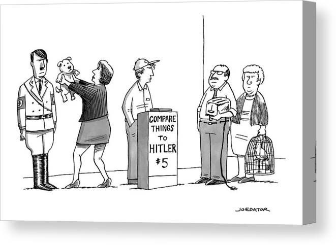 Hitler Canvas Print featuring the drawing New Yorker September 5th, 2016 by Joe Dator