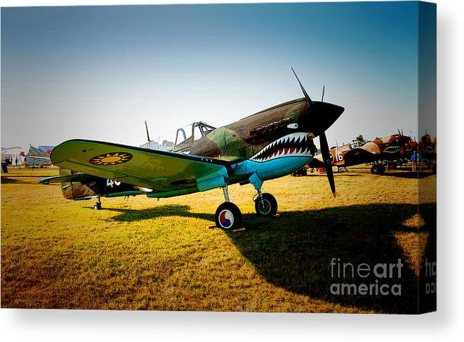 Warbirds Canvas Print featuring the photograph Warbird Curtiss P-40 E by Robert Kleppin