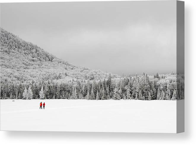 Lonesome Lake Canvas Print featuring the photograph Winter Hikers On Lonesome Lake by Ken Stampfer