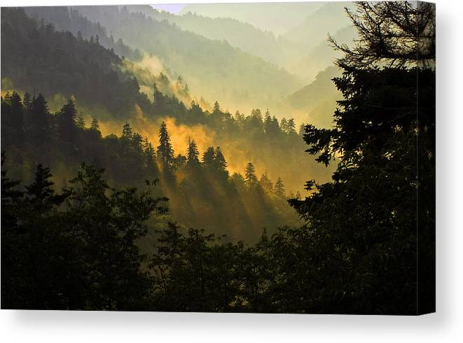 Sunset Canvas Print featuring the photograph Smoky Mountains by Ron Sloan