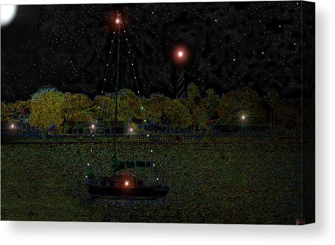 Art Canvas Print featuring the painting Fat Moon Bay by David Lee Thompson
