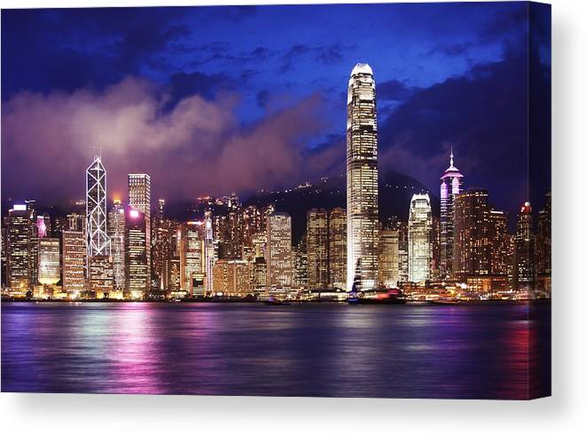 Hong Canvas Print featuring the photograph Hong Kong At Night by Dan Breckwoldt
