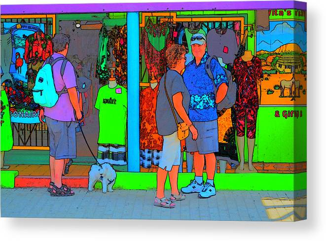 Tropical Canvas Print featuring the photograph Man With Dog by Richard Ortolano
