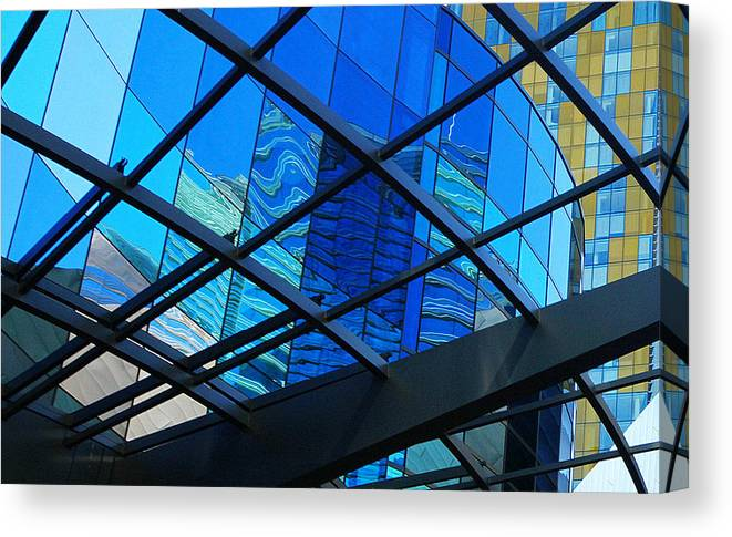 City Canvas Print featuring the photograph Shades Of Blue by Linda Edgecomb