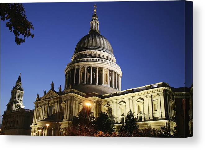 Urban Canvas Print featuring the photograph St Pauls Cathedral At Dusk, Exterior by Axiom Photographic