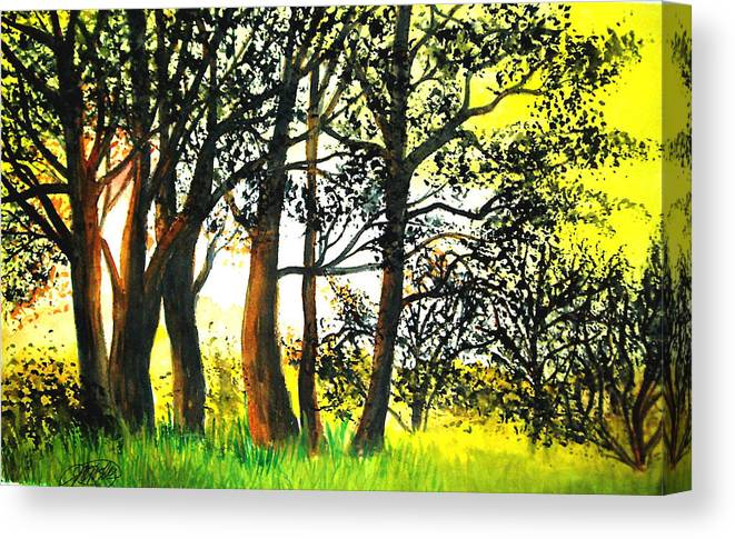 Landscape Canvas Print featuring the painting Arbutus by Vi Mosley