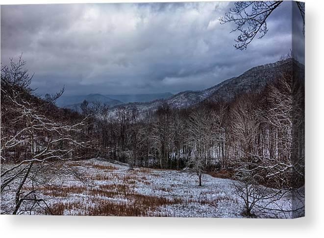 Winter Canvas Print featuring the photograph Winter Landscape And Snow Covered Roads In The Mountains by Alex Grichenko