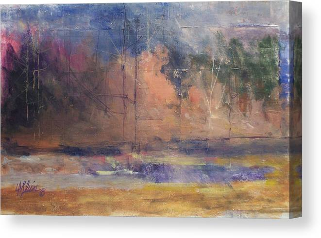 Impresstionist Canvas Print featuring the painting Autumn Pond by Dalas Klein