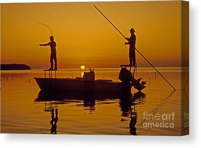 Fishing Canvas Print featuring the photograph Bone Fishing Florida Keys by Nancy Hoyt Belcher