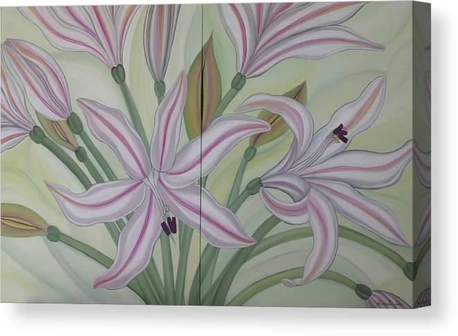 Marinella Owens Canvas Print featuring the painting Brunsvigia Grandiflora by Marinella Owens