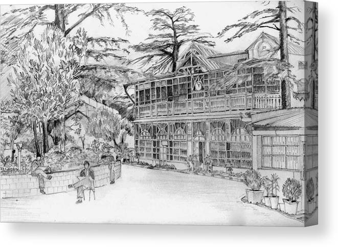 Landscape Canvas Print featuring the drawing Charleville by Padamvir Singh