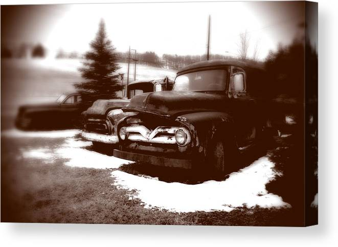 Old Cars Canvas Print featuring the photograph Chocolate Ghosts by Jean Macaluso