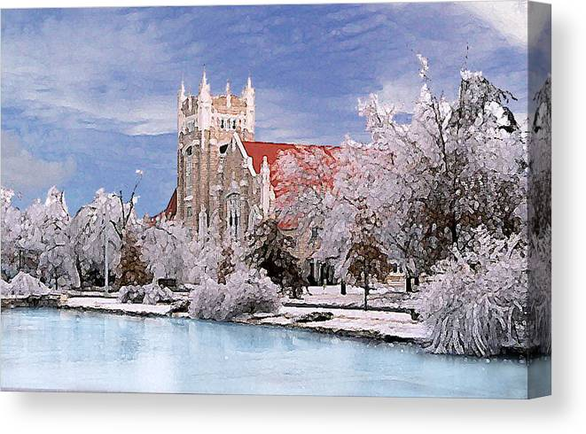 Winter Canvas Print featuring the photograph Country Club Christian Church by Steve Karol