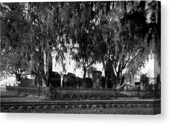 Ruins Canvas Print featuring the photograph De La Ronde Plantation Home Ruins by Crescent City Collective