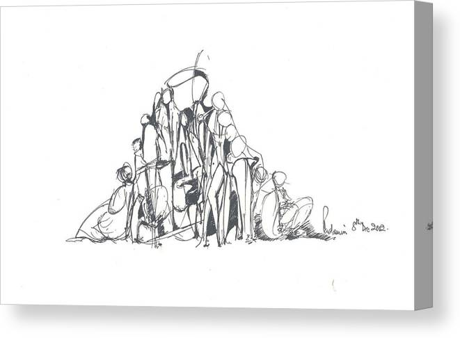 Human Forms Canvas Print featuring the drawing Embedded Human Forms by Padamvir Singh