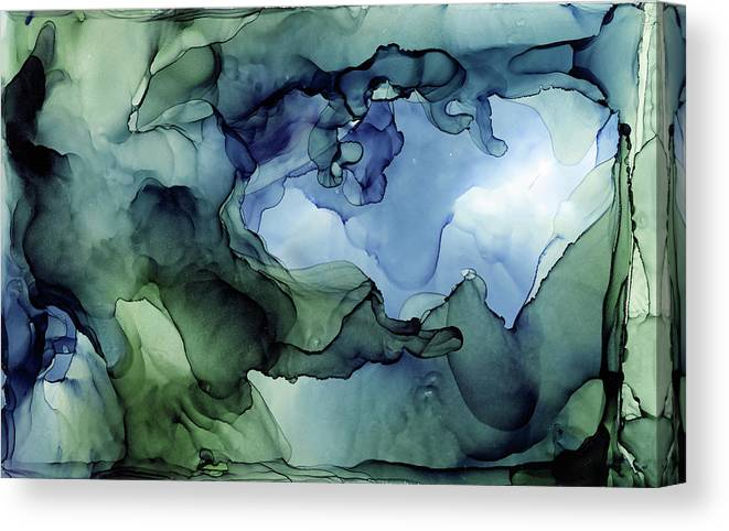 Ink Abstract Canvas Print featuring the painting Ink Abstract Painting Blues Greens by Olga Shvartsur