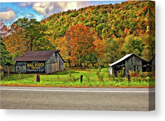 West Virginia Canvas Print featuring the photograph Kindred Barns by Steve Harrington