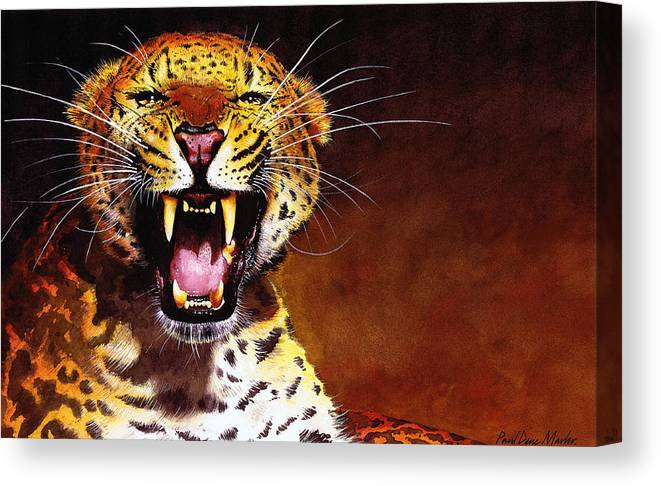 Leopard Canvas Print featuring the painting Leopard by Paul Dene Marlor
