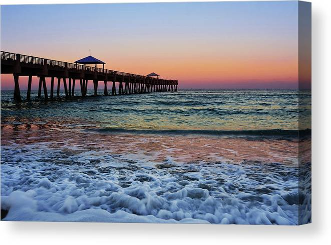 Pier Canvas Print featuring the photograph Morning Rush by Laura Fasulo