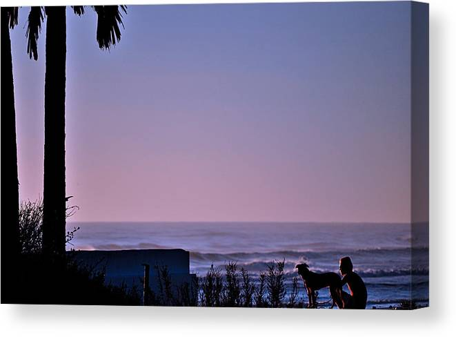 Florida Canvas Print featuring the photograph Morning Surf With Friend by William Jones
