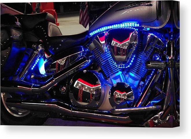 Chrome Canvas Print featuring the photograph Motorcycle Mirror by Don Youngclaus
