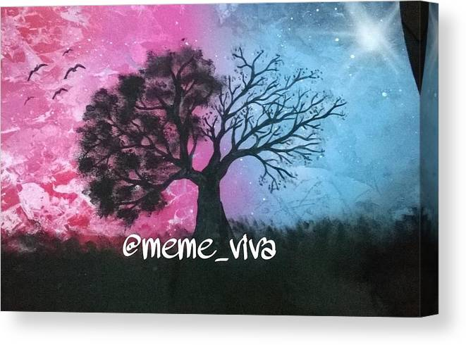 88e5076d0 Spray Paint Art . Tree . Pink . Blue . Nature Canvas Print featuring the  painting