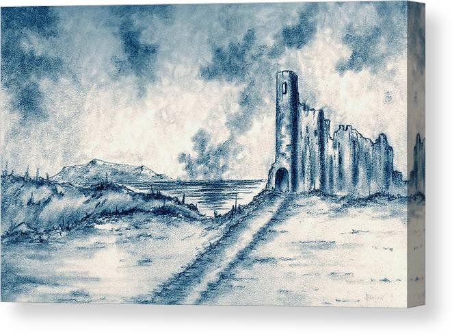 Castle Canvas Print featuring the drawing Old Castle Ruins by Michael Vigliotti