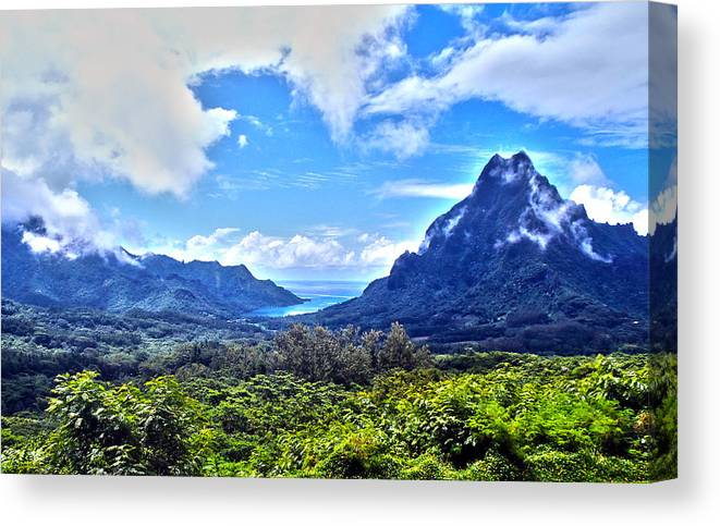 Tahiti Canvas Print featuring the photograph On Top Of Moorea by Kathryn McBride