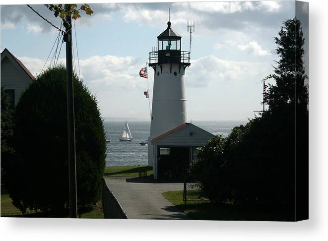 Light House Canvas Print featuring the photograph Sailing By The Lighthouse by Jeff Porter