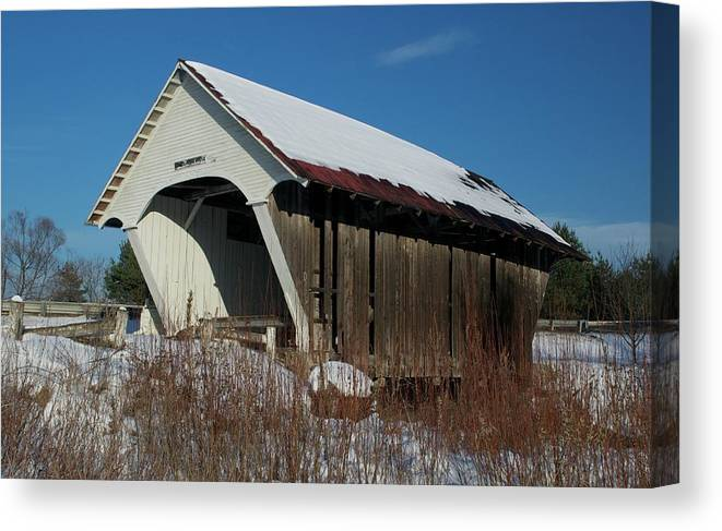 Bridge Canvas Print featuring the photograph Schoolhouse Covered Bridge by James Walsh