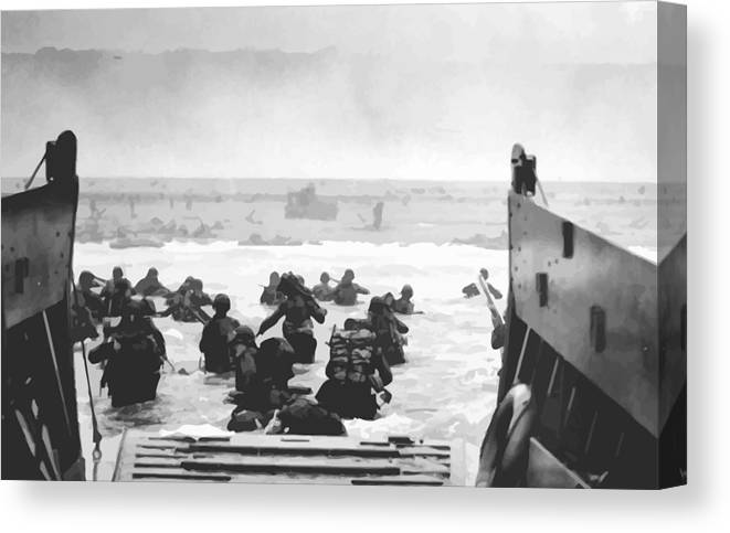 D Day Canvas Print featuring the painting Storming The Beach On D-day by War Is Hell Store