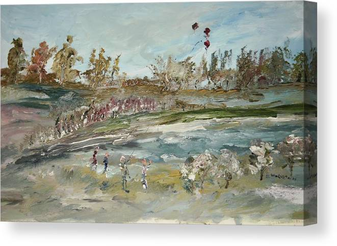 The Kite Runners Having A Battle In The Park Canvas Print featuring the painting The Kite Runners by Edward Wolverton
