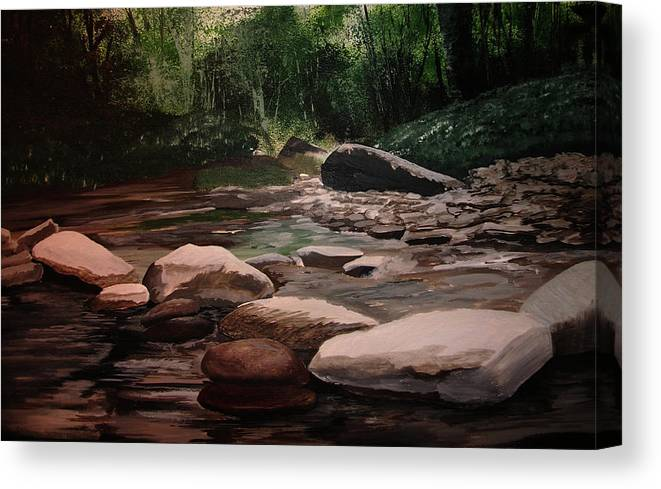 River Canvas Print featuring the painting Up Stream by Martin Williams