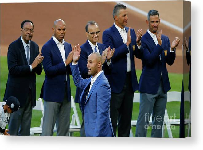 Crowd Canvas Print featuring the photograph Derek Jeter Ceremony by Rich Schultz