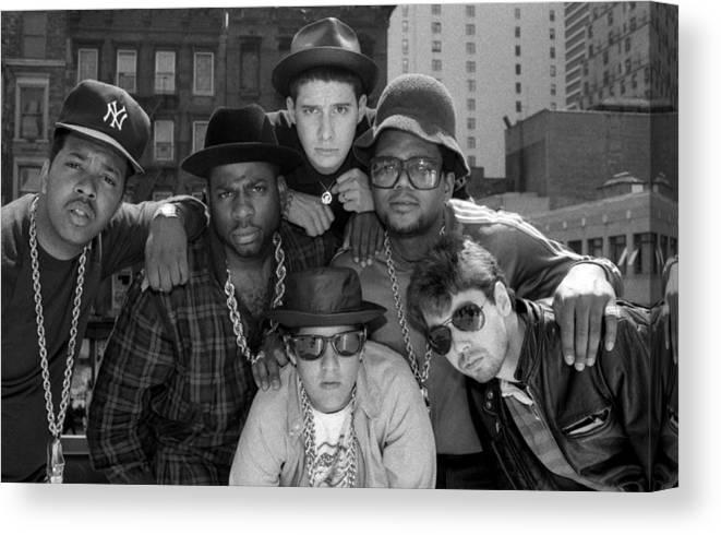 1980-1989 Canvas Print featuring the photograph Run-dmc & Beastie Boys by New York Daily News Archive