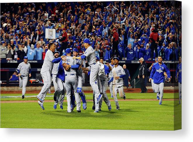 American League Baseball Canvas Print featuring the photograph World Series - Kansas City Royals V New by Jim Mcisaac