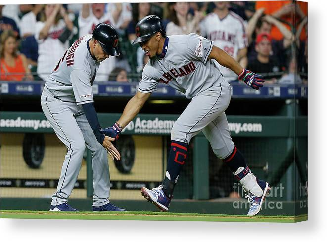 People Canvas Print featuring the photograph Francisco Lindor by Bob Levey