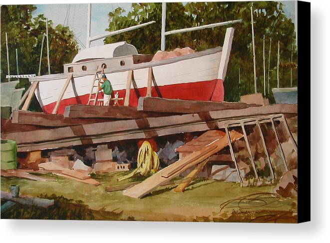 Boats Canvas Print featuring the painting Second Time Around by Faye Ziegler