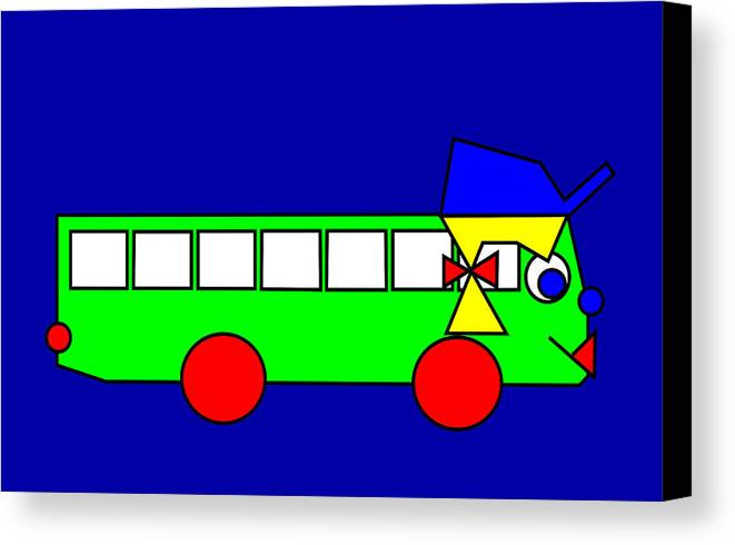 Belinda Canvas Print featuring the digital art Belinda The Bus by Asbjorn Lonvig