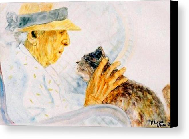 Marjory Canvas Print featuring the painting Marjory And Her Cat by Ruth Mabee