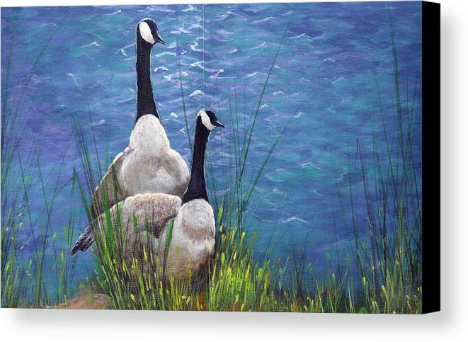 Landscape Canvas Print featuring the painting Resting Geese by SueEllen Cowan