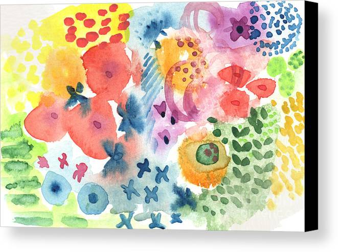 Watercolor Canvas Print featuring the painting Watercolor Garden by Linda Woods