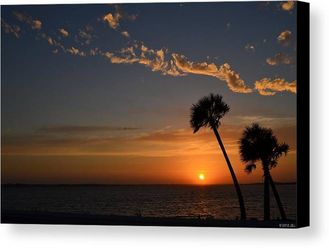 20120502 Canvas Print featuring the photograph 0502 Palms With Sunrise Colors On Santa Rosa Sound by Jeff at JSJ Photography
